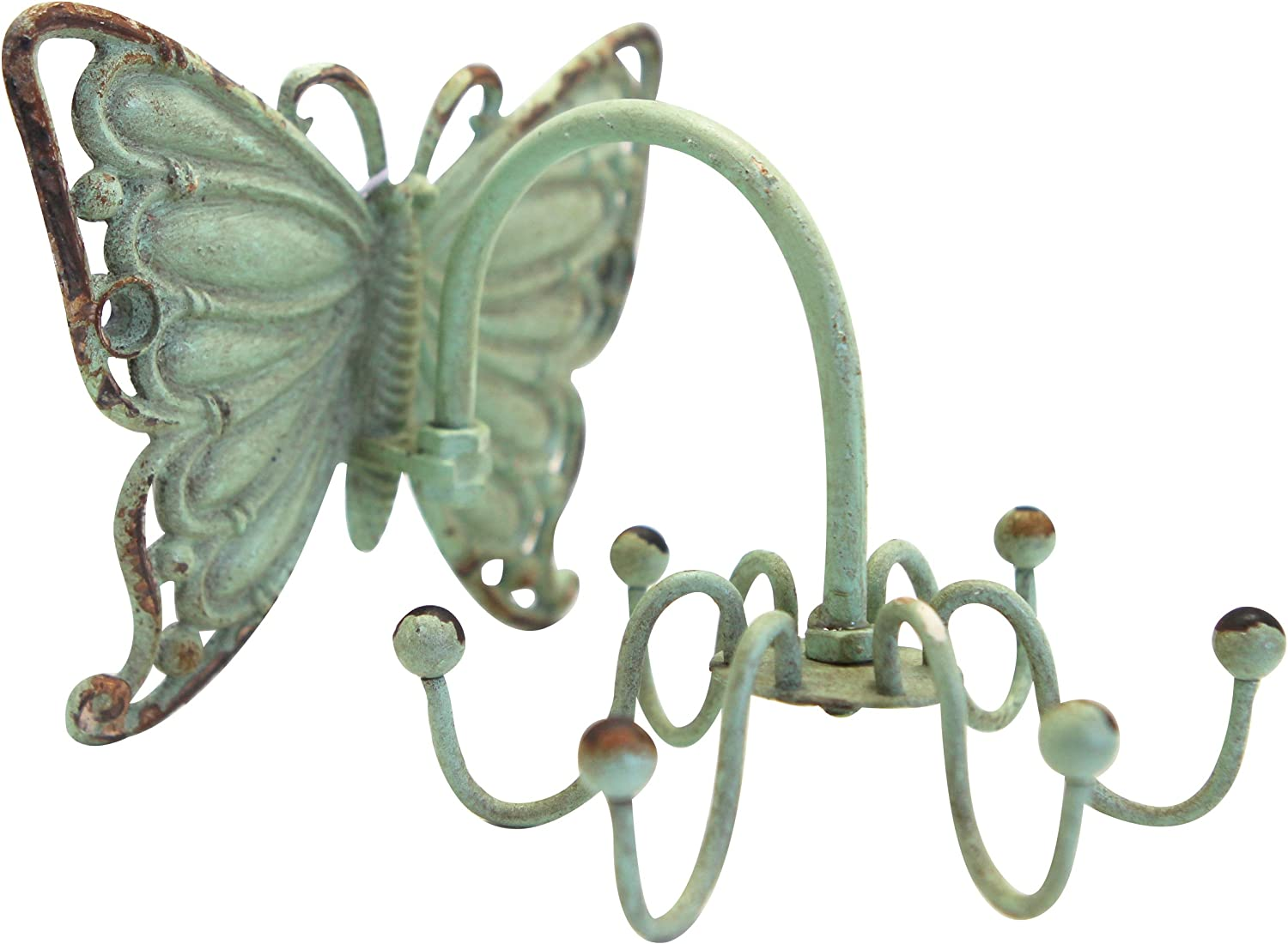 NIKKY HOME Shabby Chic Pewter Butterfly Shape Rotatable Jewelery Wall Necklace Hanger Hooks for Home Decor, Green