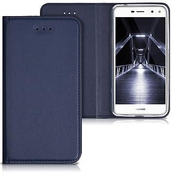 kwmobile Funda para Huawei Y6 (2017) - Carcasa para móvil de Cuero sintético - Case Plegable en Azul Oscuro