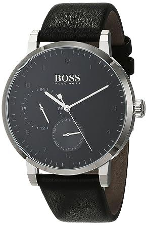 Hugo BOSS Reloj Multiesfera para Hombre de Cuarzo con Correa en Cuero 1513594: Amazon.es: Relojes