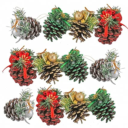 yarssir pine cones 12pcs colorful tipped natural large pinecones with glitter snowflakes christmas tree decoration - Decorating Large Pine Cones For Christmas