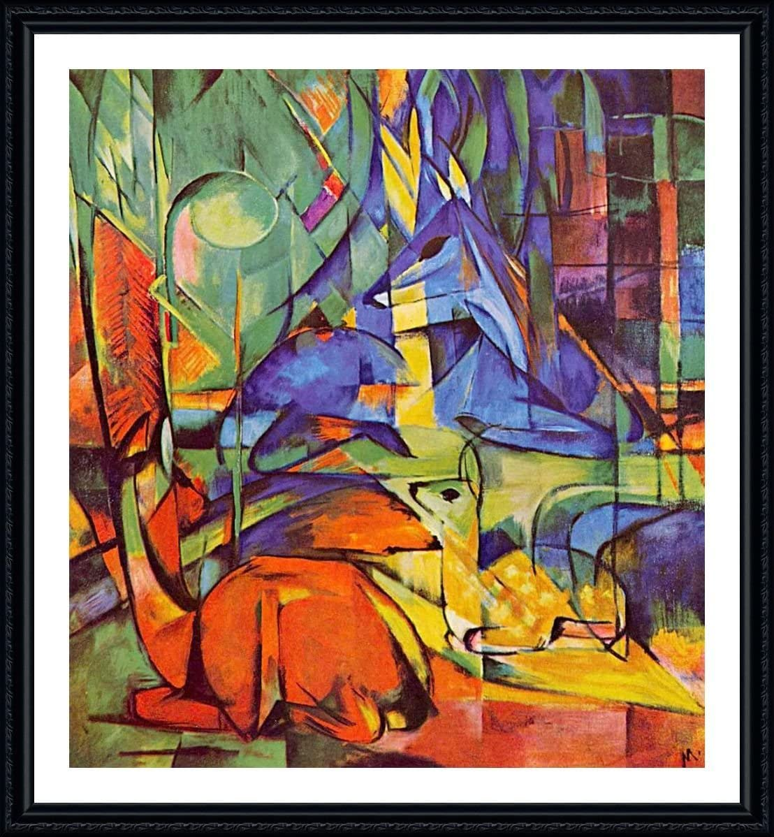 Amazon Com Alonline Art Deer In The Forest 2 By Franz Marc Black Framed Picture Printed On 100 Cotton Canvas Attached To The Foam Board Ready To Hang Frame