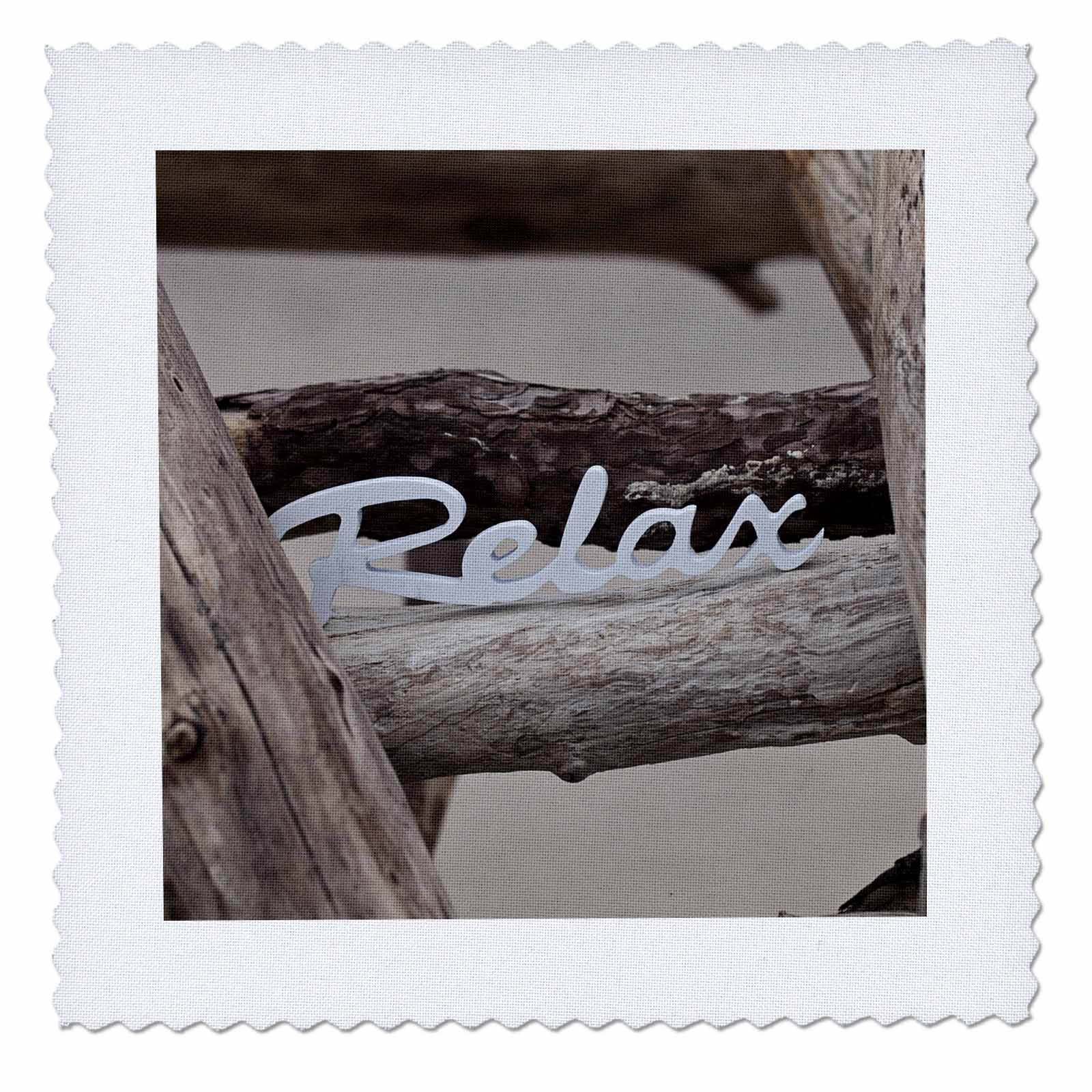 3dRose Andrea Haase Still Life Photography - Word Relax On Driftwood - 16x16 inch quilt square (qs_276260_6) by 3dRose (Image #1)