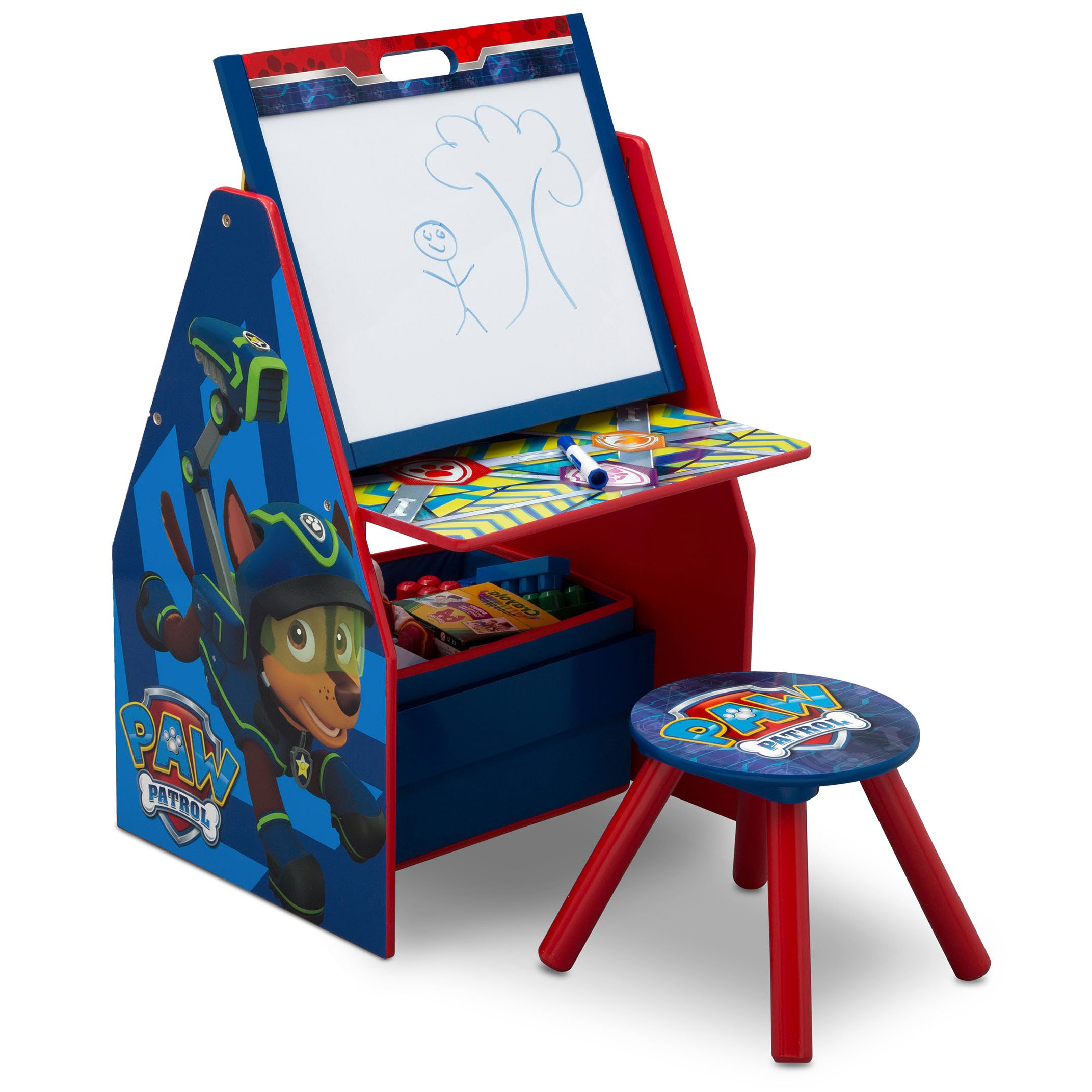 Delta Children Deluxe Kids Art Easel Desk Stool Toy Table Organizer, Nick Jr. PAW Patrol