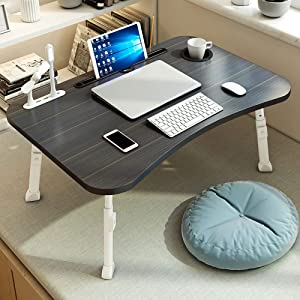 Pollenzic Laptop Bed Desk,Adjustable Folding Laptop Desk,Portable Foldable Laptop Bed Tray Table with USB Charge Port/Cup Holder,for Bed /Couch /Sofa Working, Reading(Black)
