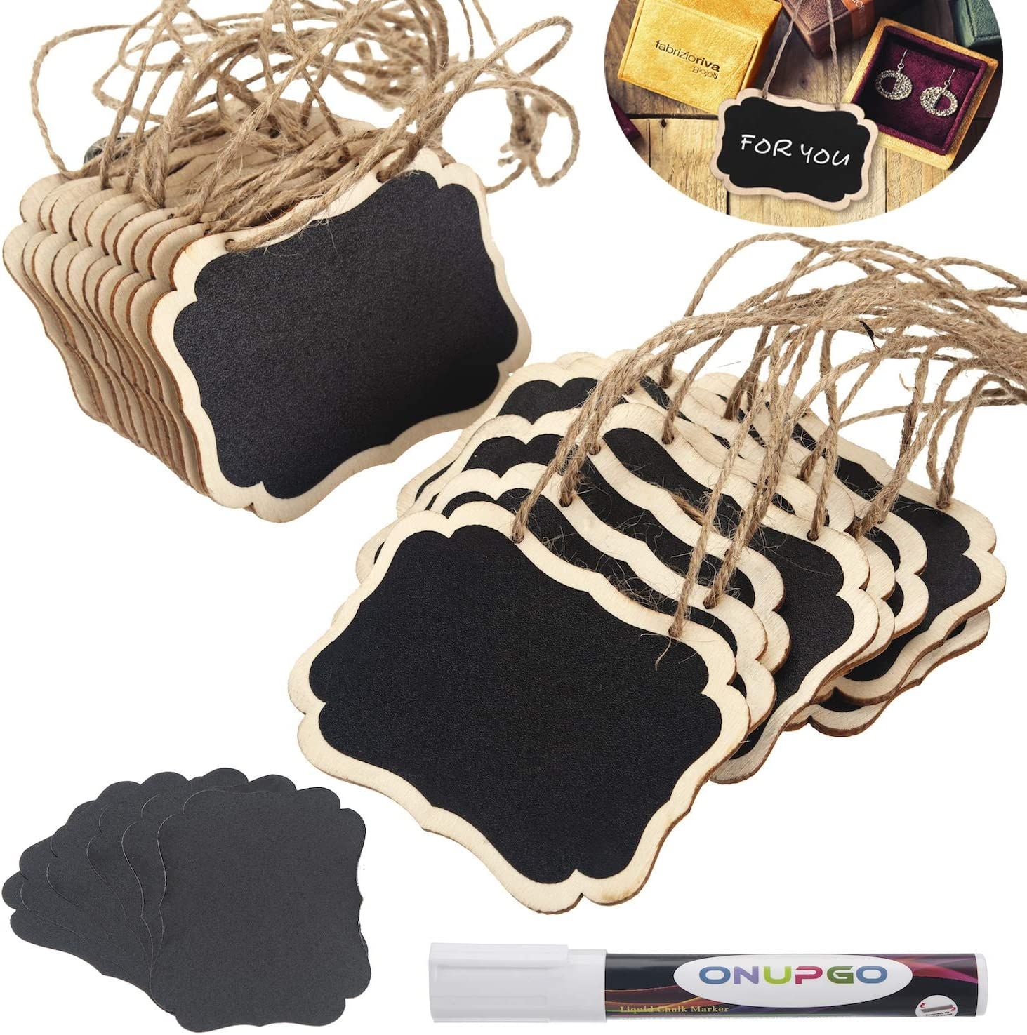ONUPGO 20 Pack Chalkboard Tags with Liquid Chalk Marker, Double Sided Blackboard with Hanging String, Wooden Mini Erasable Chalkboard Signs, Hanging Chalkboard Labels, Price Tags, Message Tags