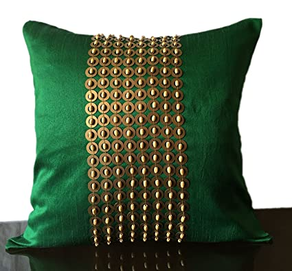 The White Petals Emerald Green Gold Decorative Pillow Cover with Gold  Sequins and Wood Bead Embroidery in Panel Pattern (16x16 inch, Emerald  Green)