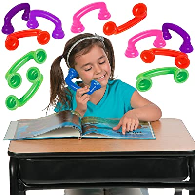 4E's Novelty Reading Phones Whisper, (16-Pack) Bulk Read to Your Self Phones, Great for Speech Therapy and Auditory Feedback: Toys & Games