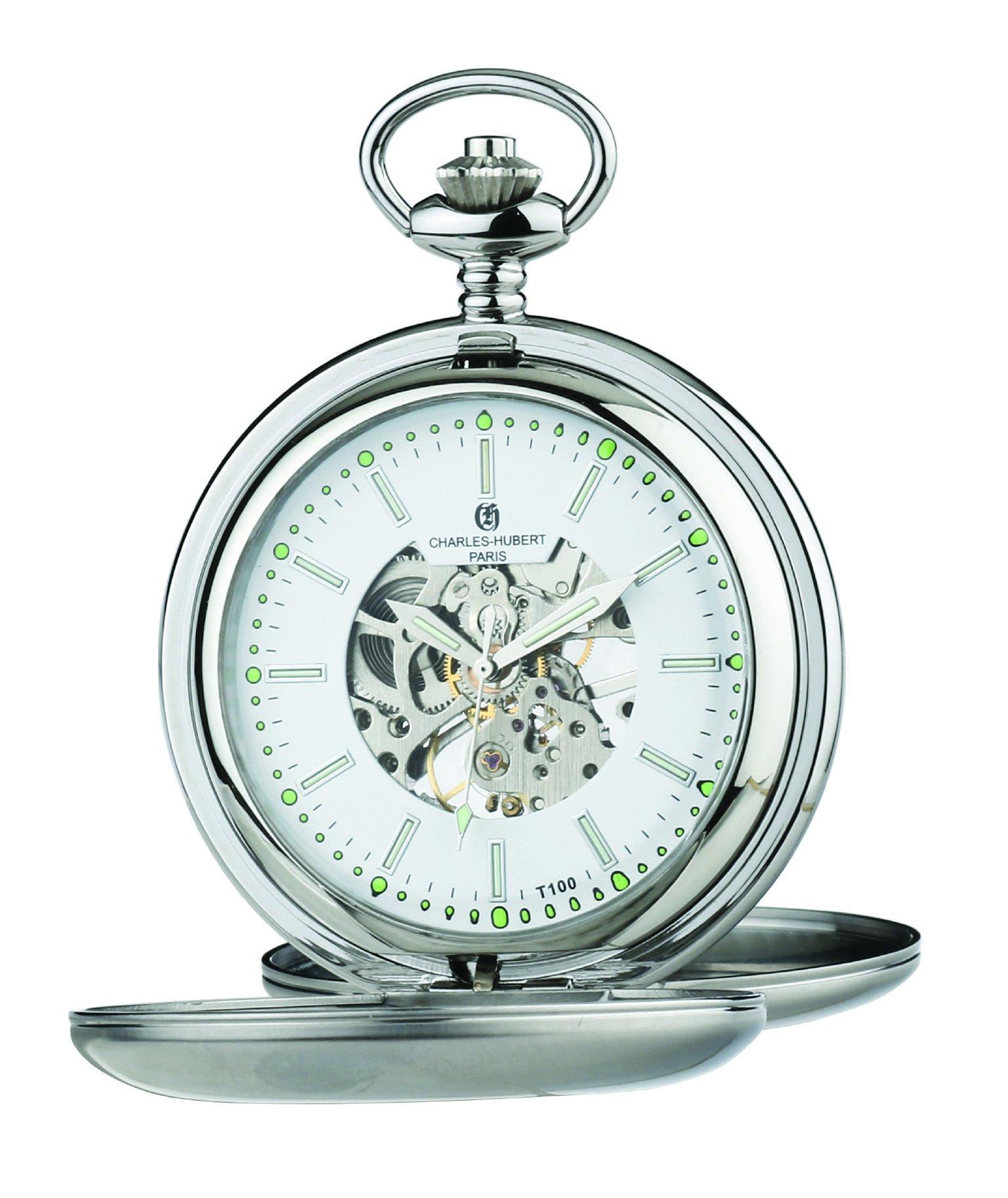 Charles Hubert Stainless Steel Double Cover Tritium Mechanical Pocket Watch XWA5561