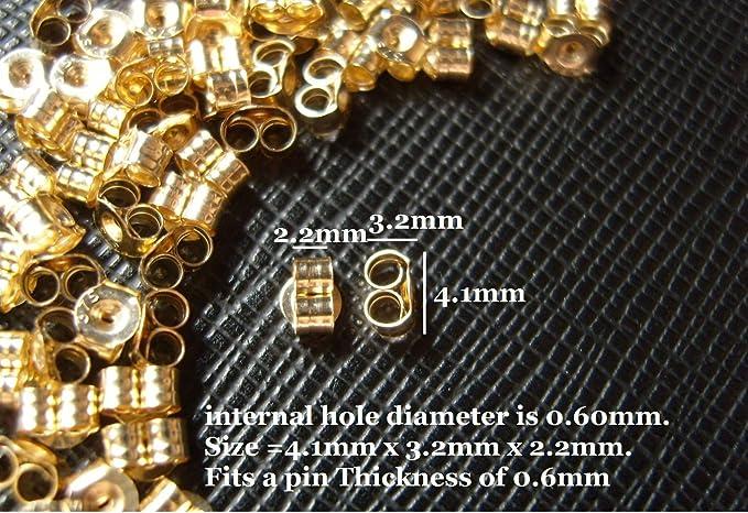 Or 9 ct Papillon Boucle d/'oreille dos Scrolls PUSH FIT .375 1 x Paire 2 5 mm x 4 mm