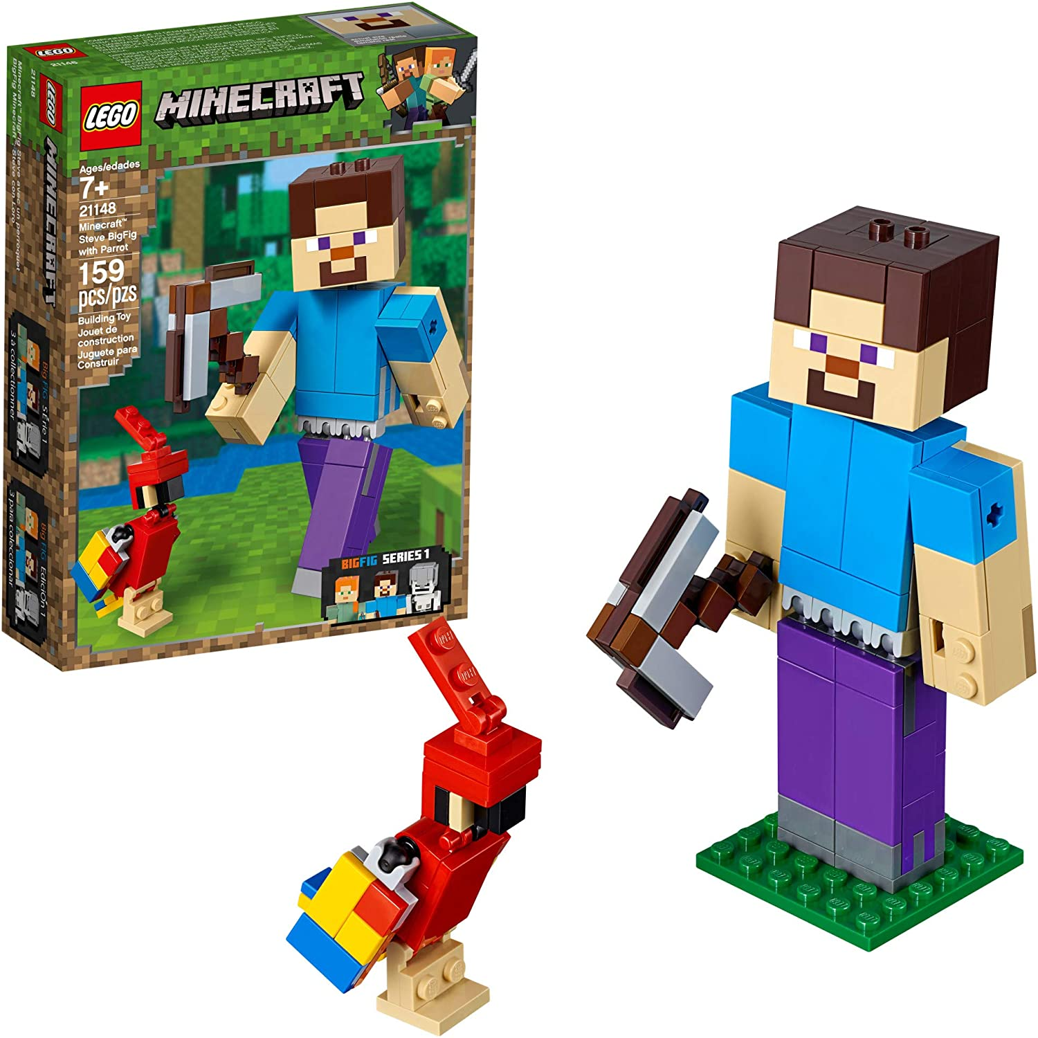 Lego Minecraft Minifigure Lot of 2 Steve and Alex w//Diamond Axe