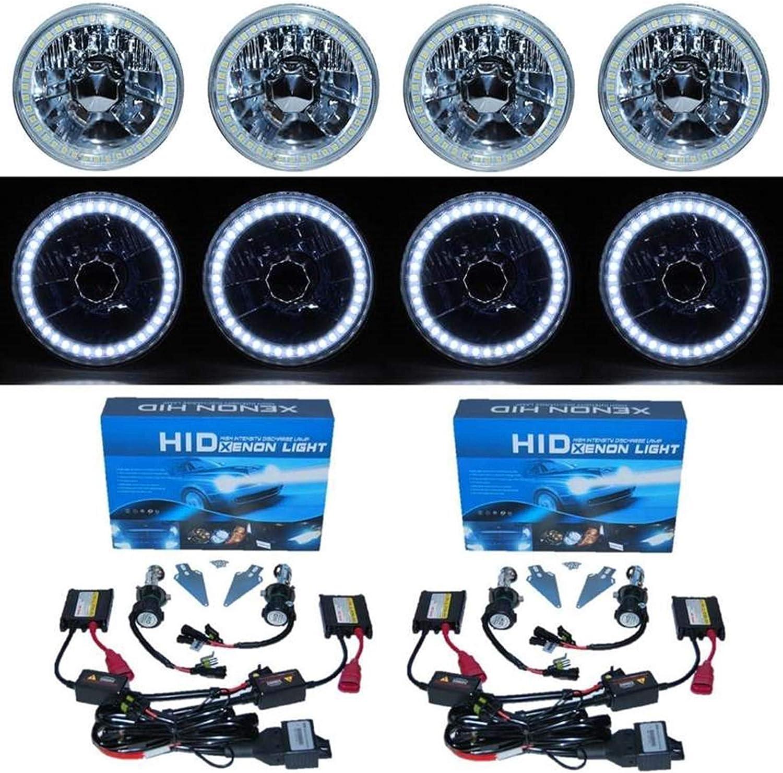 5-3//4 SMD White LED Halo 6000K HID H4 Bulb Metal Headlight Angel Eye Crystal Set