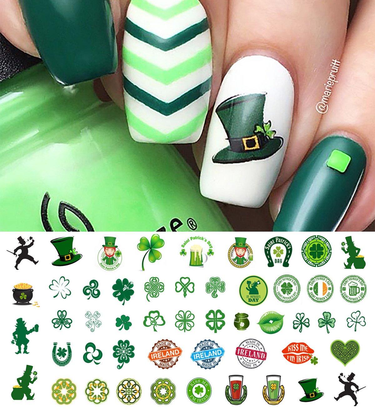 St. Patricks Day Luck of The Irish Set #2 Water Slide Nail Art Decals - Salon Quality!
