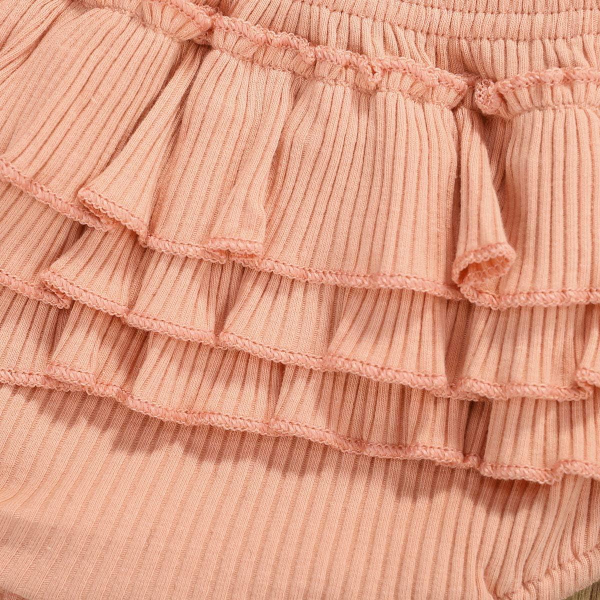 Yccutest Baby Girl Clothes Long Sleeve Romper+Ruffle Shorts+Headband 3Pcs Newborn Infant Outfits Girl Bodysuit