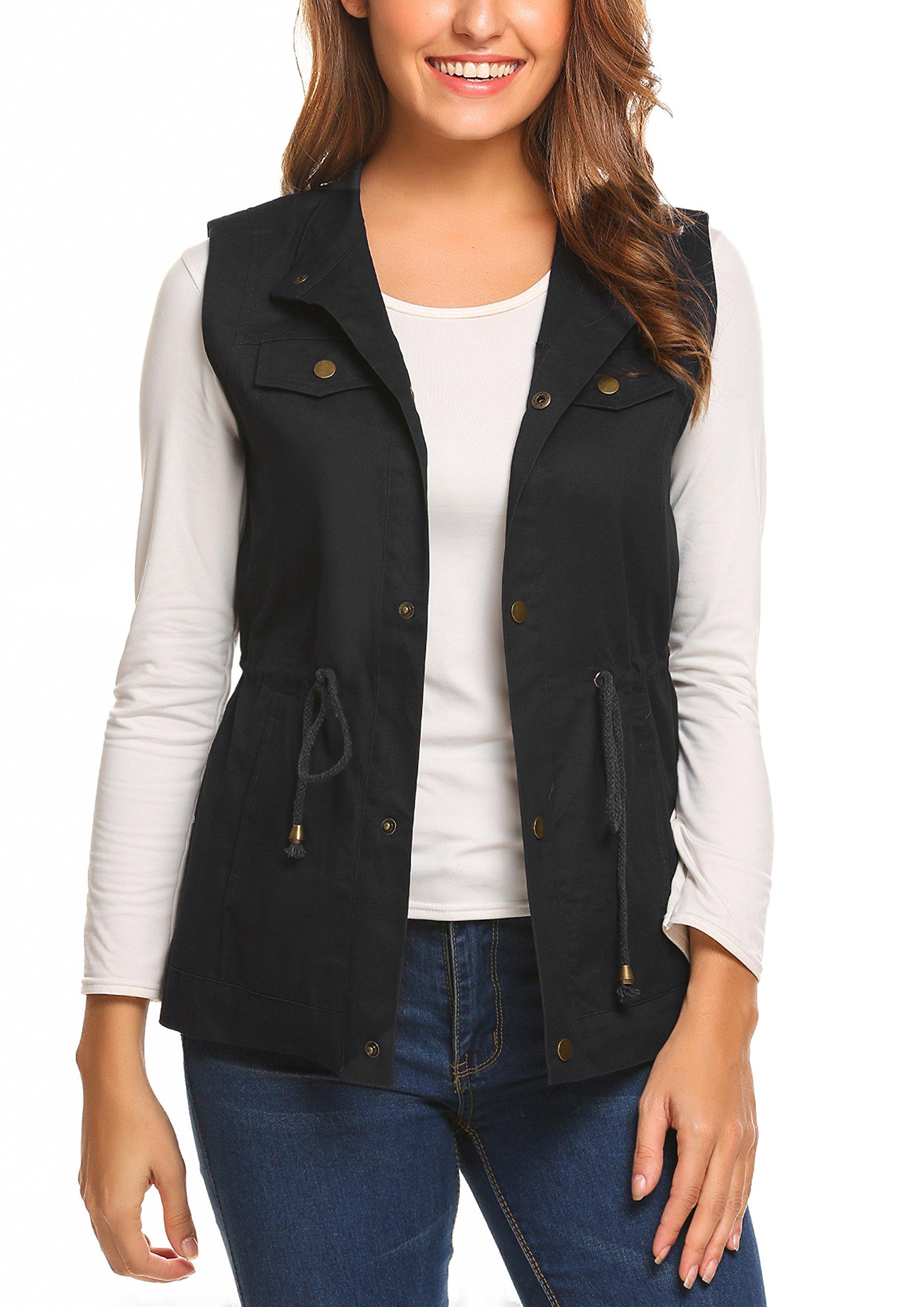Beyove Womens Lightweight Sleeveless Short Anorak Style Vest, Black, XL