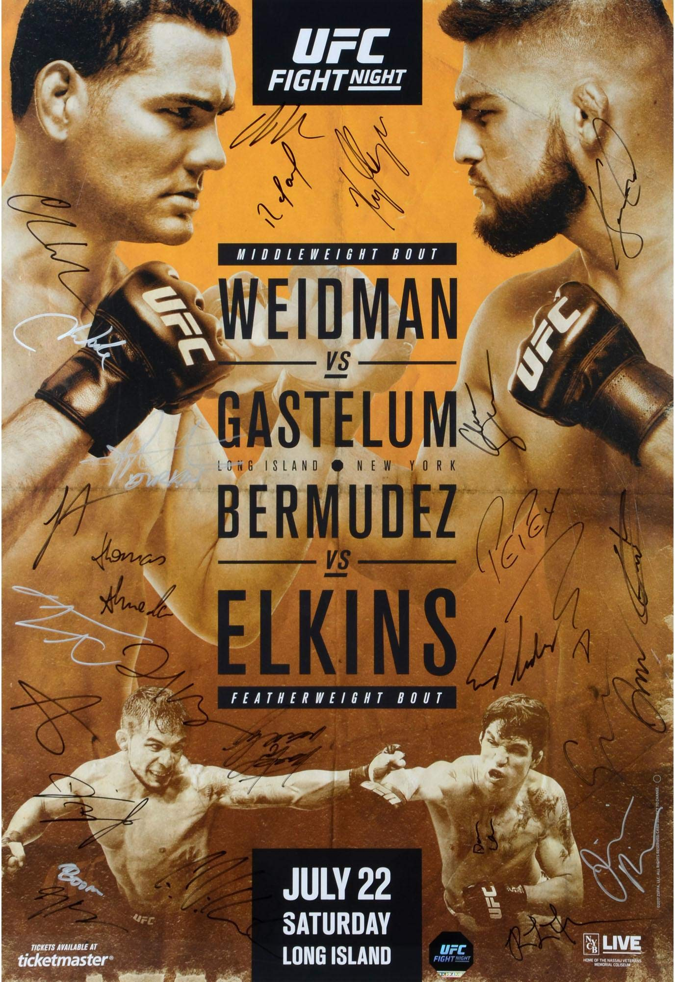 "UFC on FOX 25 Weidman vs. Gastelum Autographed 27"" x 39"" 26 Signature Fight Poster Fanatics Authentic Certified"