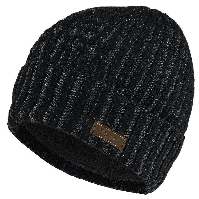 3da025b1db7ce Amazon.com  GLOUE Vmevo Wool Cuffed Beanie Hat Warm Winter Knit Hats ...