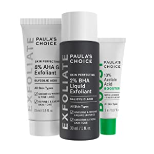 Paula's Choice 2% BHA Liquid & 8% AHA Gel Facial Exfoliants with Salicylic & Glycolic Acid, 10% Azelaic Acid for Large Pores, Wrinkles & Uneven Tone, Fragrance-Free & Paraben-Free, 3-Piece Travel Kit