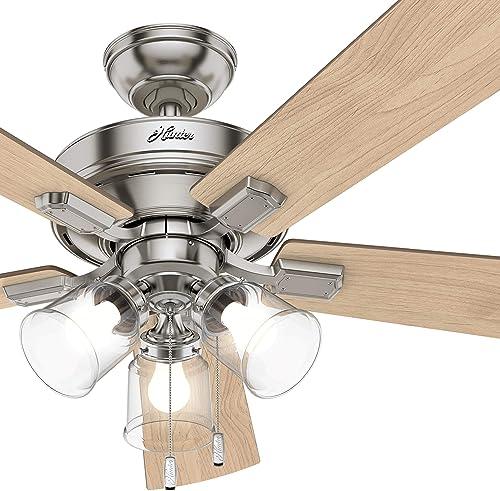 Hunter Fan 52 inch Casual Brushed Nickel Indoor Ceiling Fan 5-Blade