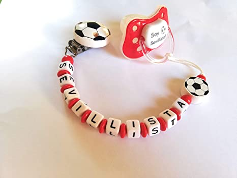Pack cadena de chupete + chupete futbol Sevilla FC