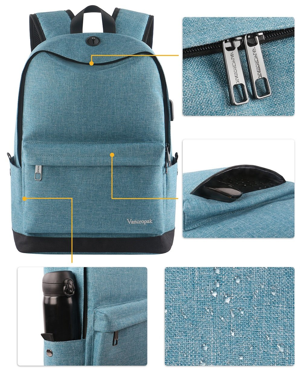 High School Backpack, Middle Student Bag with USB Port for Men Women Teen, Causel Basic Bookbag Fits 15.6 Inch Laptop/Notebook Designed for Travel Work Study - Purplish Blue by Vancropak (Image #4)