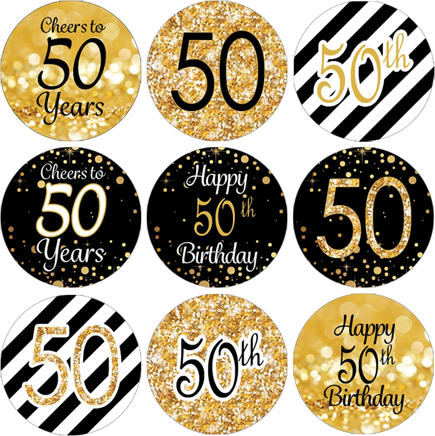 50TH BIRTHDAY PARTY FAVORS STICKERS  for lollipops  goody bags favor boxes,