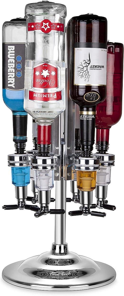 6 Bottle Bar Caddy Liquor Dispenser-Chrome Finish Set of 2