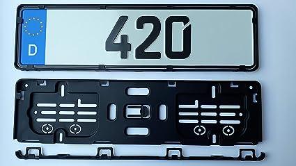 Soporte para matrícula de 42 cm (420 mm) en negro (2 unidades ...