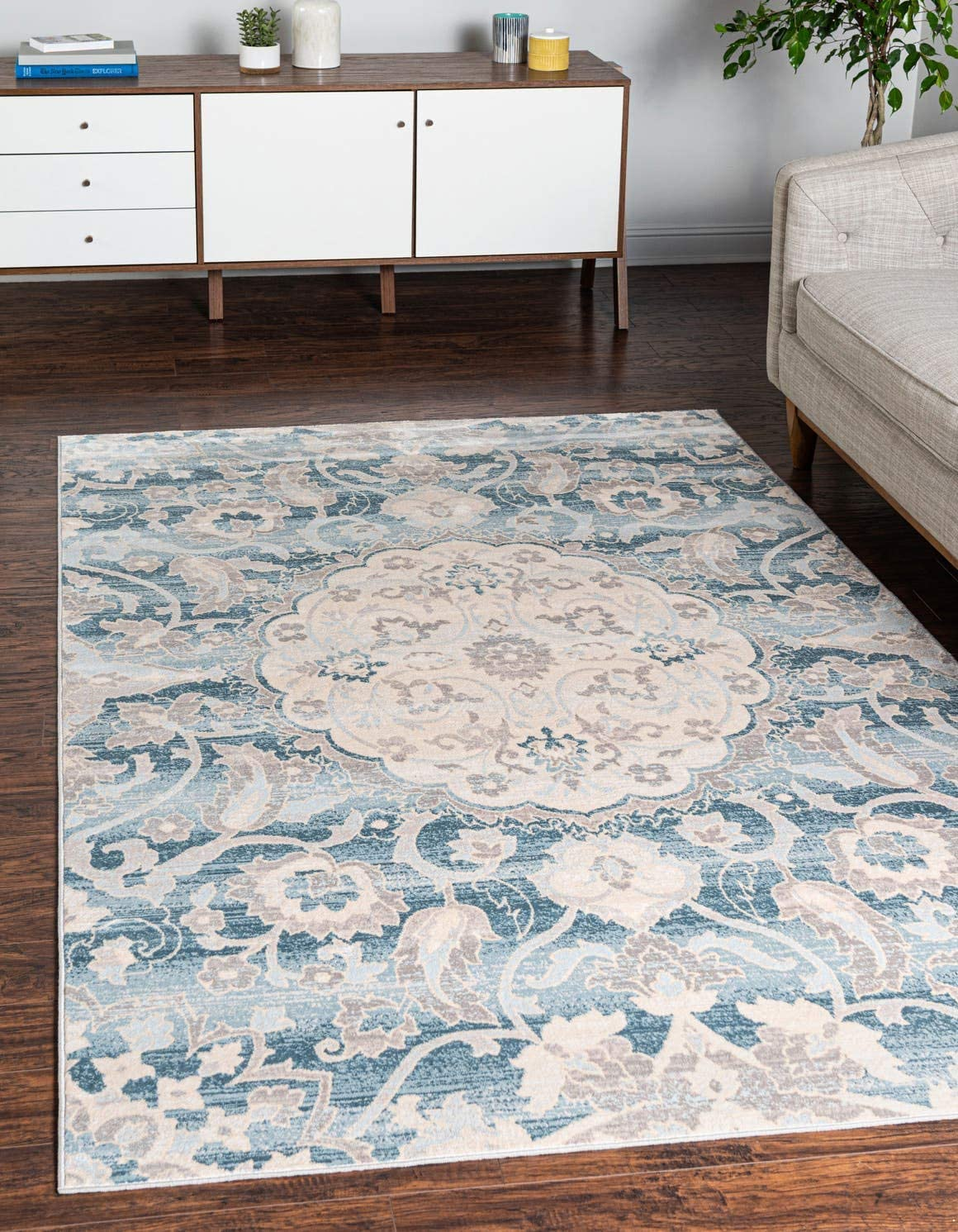 Unique Loom Paris Collection Pastel Tones Traditional Distressed Blue Area Rug 8 0 x 10 0