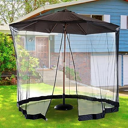 10FT Outdoor Umbrella Table Screen Patio Cover With Mosquito Net Zipped Door