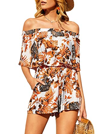 2e72d58ac840 Amazon.com: imesrun Womens Summer Floral Two Pieces Outfits Off Shoulder  Ruffle Top and Short Rompers: Clothing