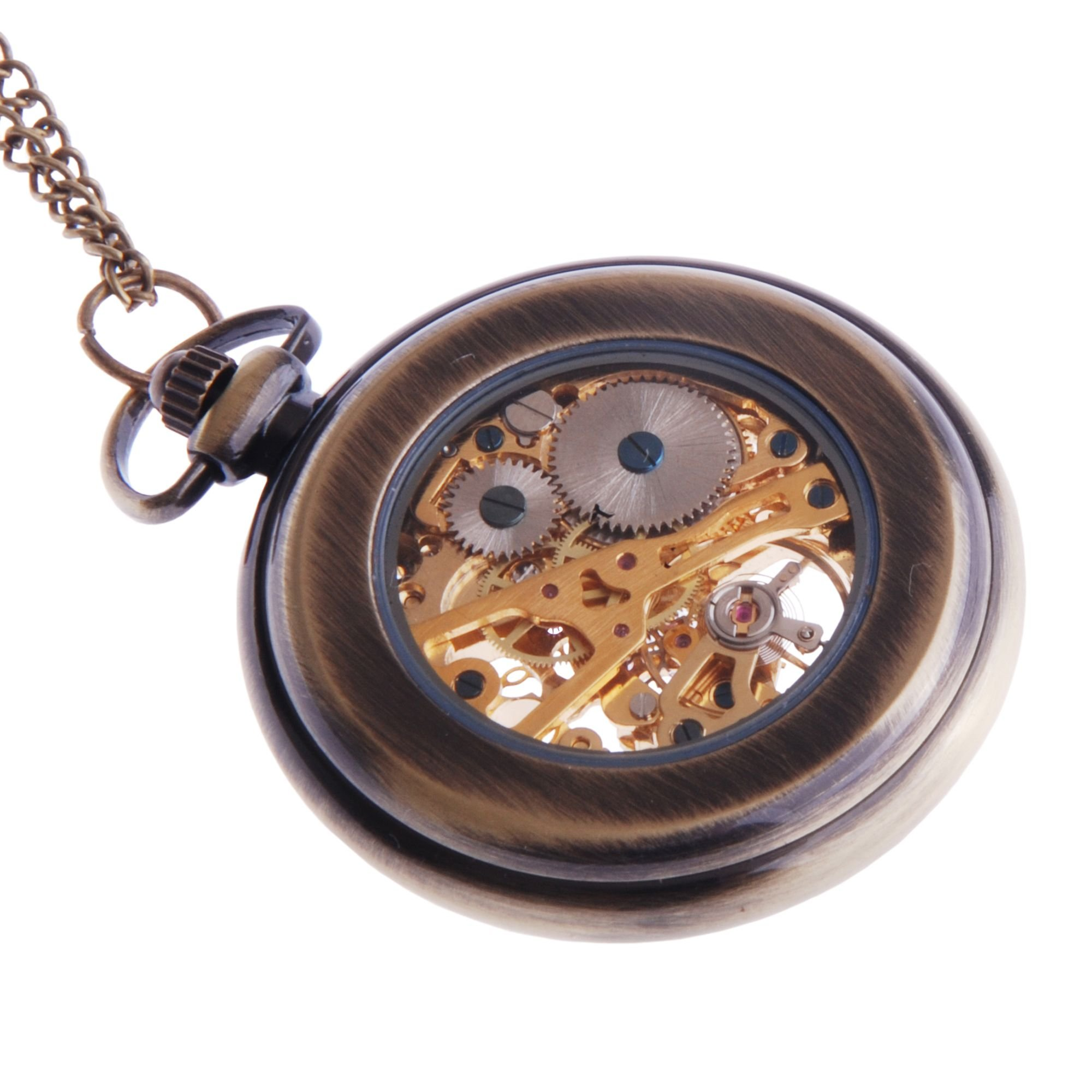 ShoppeWatch Hand Wind Mechanical Skeleton Pocket Watch Open Face Steampunk Style With Chain - PW12 by ShoppeWatch (Image #2)