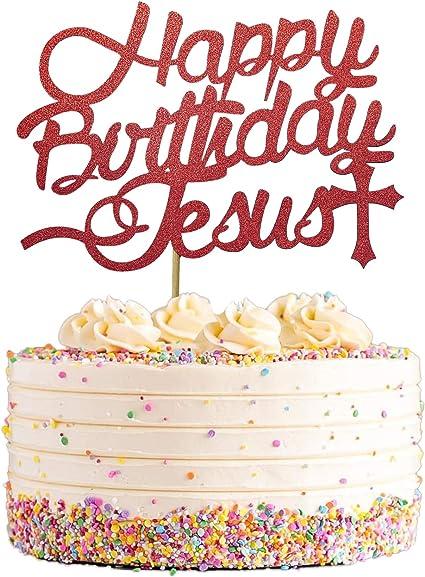 Red Glittery Jesus Birthday Cake Decorations Happy Birthday Jesus Cake Topper Jesus is Reason for the Season for Christmas Jesus Birthday Party Decorations
