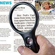 SeeZoom Lighted Magnifying Glass 3X 45x Magnifier Lens - Handheld Magnifying Glass with Light for Reading Small Prints, map,