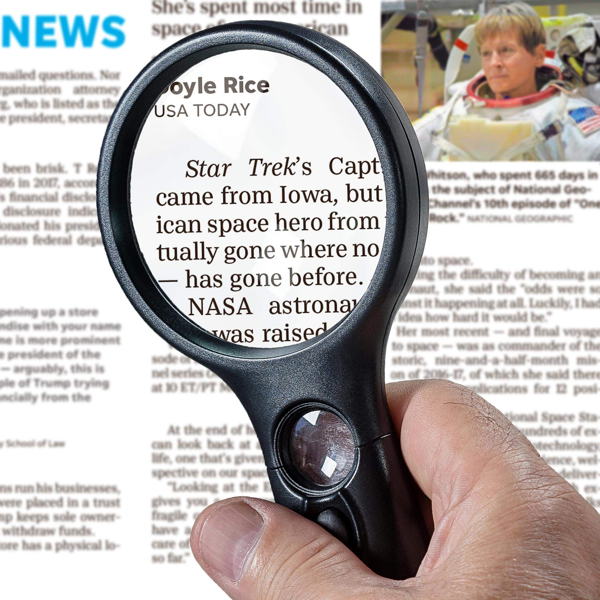 SeeZoom Lighted Magnifying Glass 3X 45x Magnifier Lens - Handheld Magnifying Glass with Light for Reading Small Prints, map, Coins and Jewelry - LED Magnifying Glass by seezoom