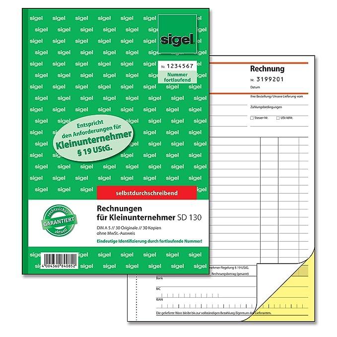 Sigel Sd130 Rechnungen Für Kleinunternehmer A5 2x30 Blatt