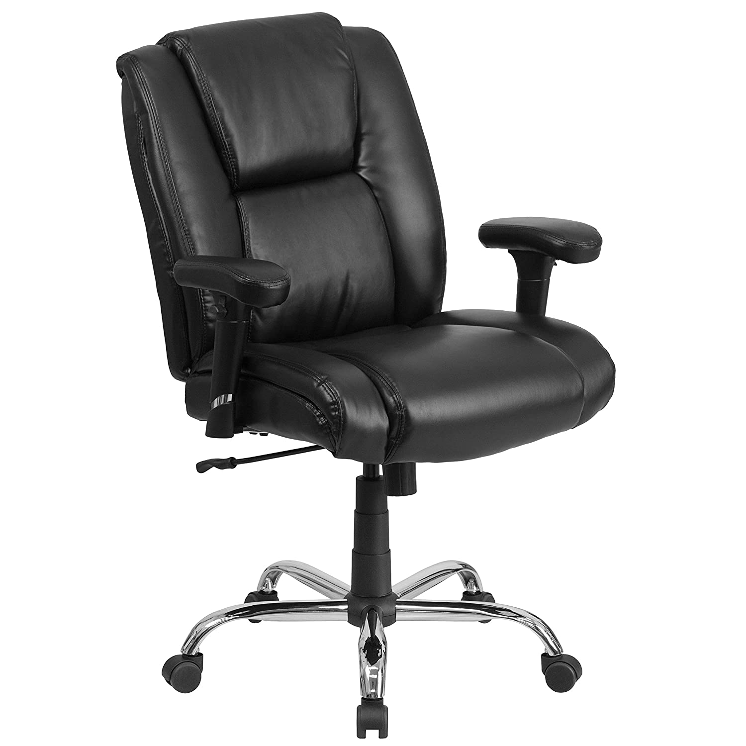 Flash Furniture HERCULES Series Big & Tall 400 lb. Rated Black Leather Ergonomic Task Office Chair with Chrome Base and Adjustable Arms