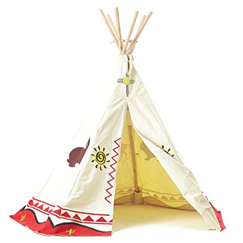 Tente De Jeu Tipi Pour Enfant, Indian Teepee Playhouse De Garden Games Toile En Cotton