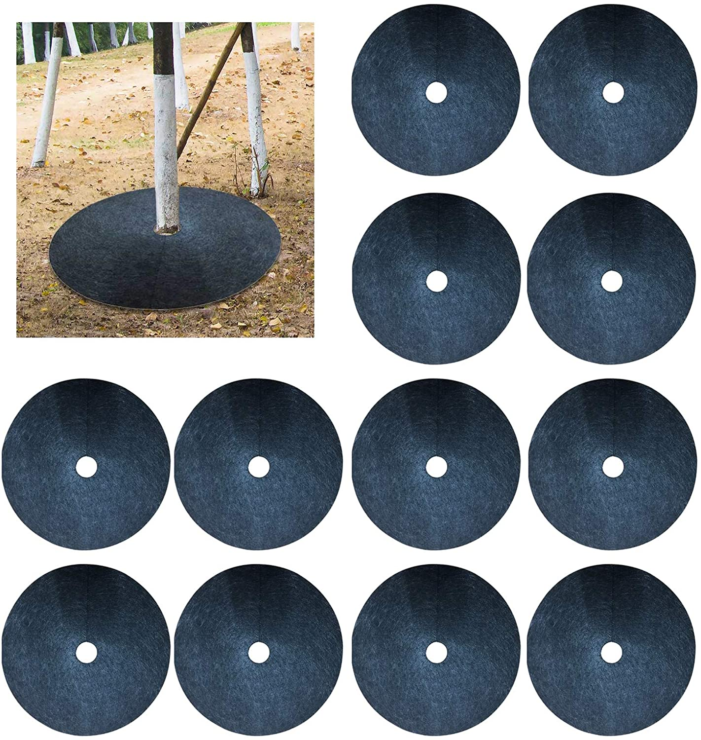 XINdream 36 Pack Tree Ring Landscaping, 16.5in Recycled Anti Grass Tree Mulch Mat Ring, Degradable Tree Protector Mat Plant Cover for Weed Control Root Protection (Black)