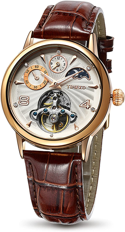 Time100 Reloj Moderno automático para Hombre Correa de Piel Esqueleto Reloj mecánico
