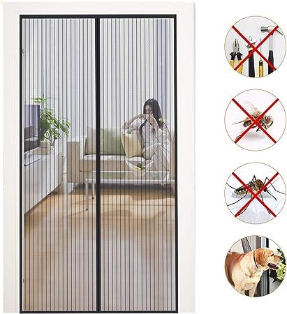 GOUDU Cortina Mosquitera Magnetica mosquitera Ventana Magnética Automático Cierra Automáticamente para Puertas Correderas/Balcones/Terraza - Negro 160x270cm(63x106inch): Amazon.es: Hogar