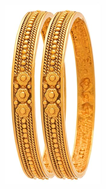 e78a20880 Buy BFC Gold Plated Flower Bangles Bracelet Kada for Women (2.2) Online at  Low Prices in India