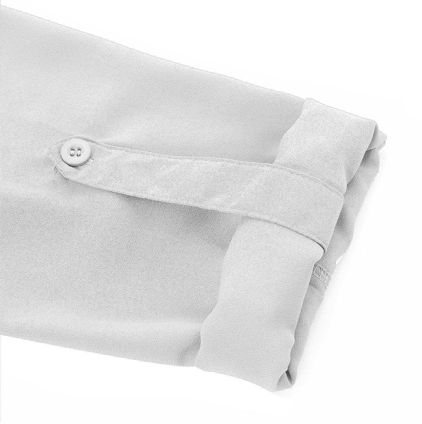 Fleasee Damen Einfarbig Chiffon Bluse V-Ausschnitt Elegante Langarm Tunika Casual Top mit 3//4 /Ärmel Locker