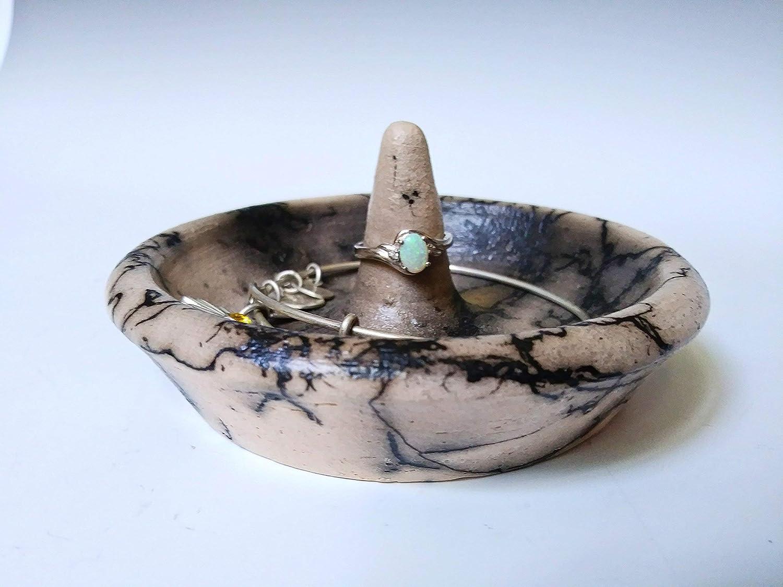 valentine/'s day gift ring cone jewelry dish wedding ring dish engagement ring dish raku pottery ring holder Air sign ceramic ring dish
