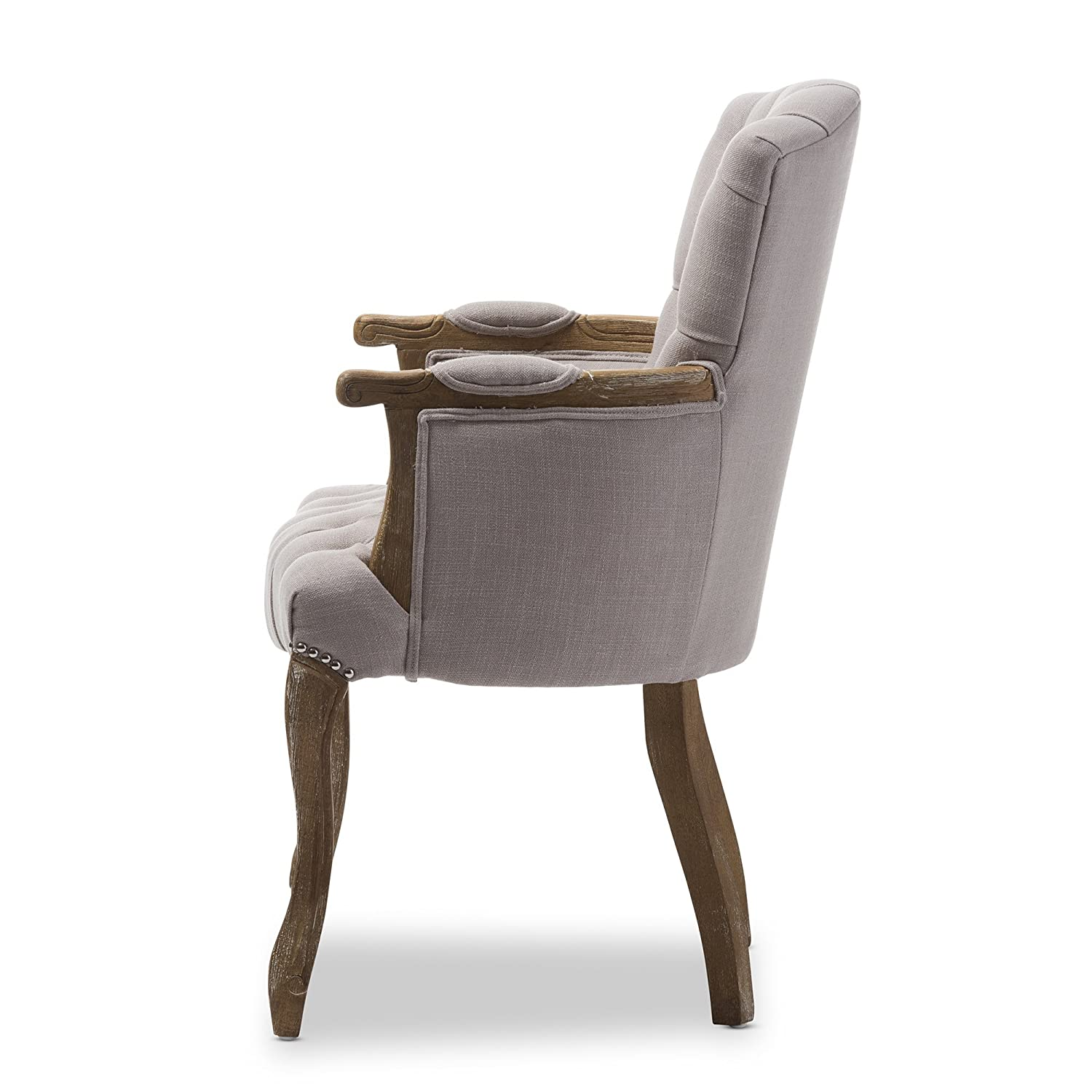 Amazon.com   Baxton Studio Clemence French Provincial Weathered Oak Beige  Linen Upholstered Armchair   Chairs