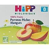 Hipp Biologique 100% Fruits Pommes Pêches Mangues dès 8 mois - 24 coupelles de 100 g