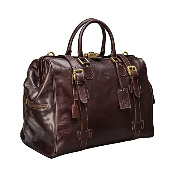 Maxwell-Scott® Brown Handcrafted Italian Leather Travel Bag (The Gassano M) 126837cb02388