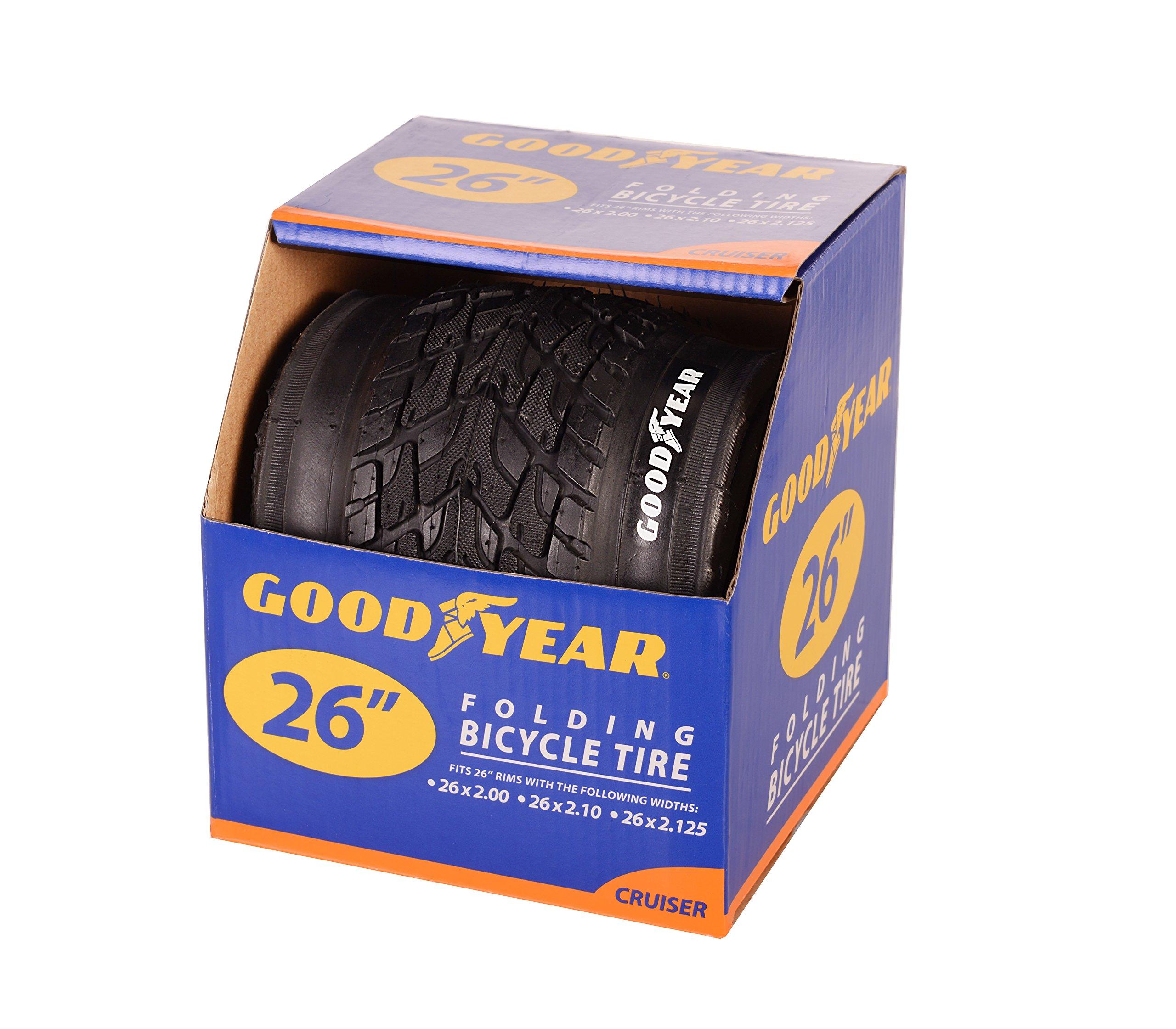 "Goodyear Folding Bead Cruiser Bike Tire, 26"" x 2.125"", Black"