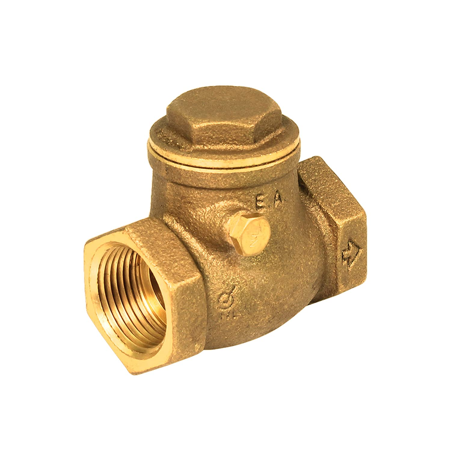Brass Swing Check Valve Female IPS Iron Pipe Straight Thread Lead Free 1-1/2 Inch Everflow Supplies 210T112-NL