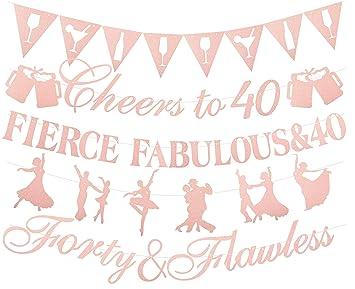 Amazon.com: Decoración para 40 cumpleaños, color rosa ...