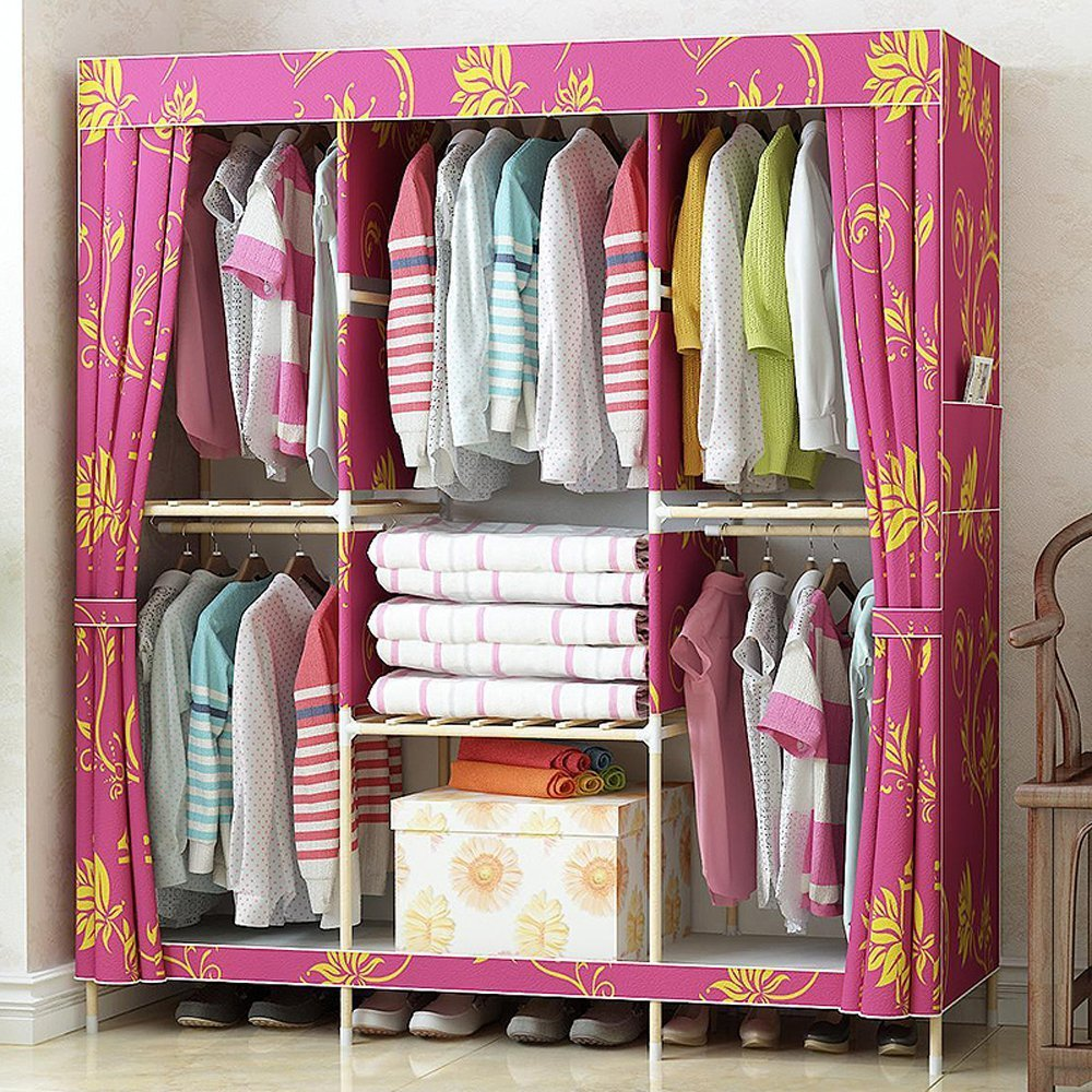 Peachblow with Flowers Generic New Super Large Family Waterproof Wardrobe Reinforced Wooden Closet Oxford Cloth Fully Closed Armoire+1 Free Storage Box